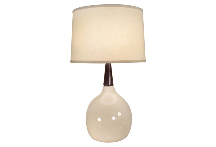 Devin Table Lamp, Bone Glaze