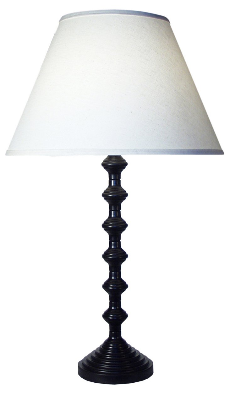 Spools Table Lamp, Black/Brown