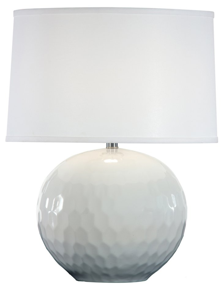 Frances Accent Table Lamp, White Gloss