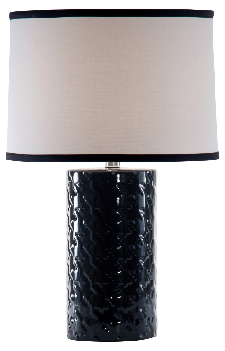 Houndstooth Accent Lamp, Black Gloss