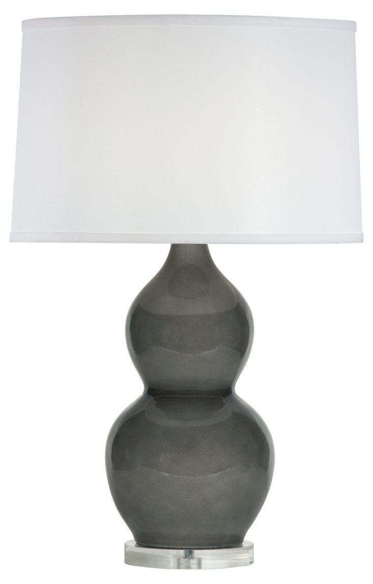 Emily Table Lamp, Smoke Gray Gloss