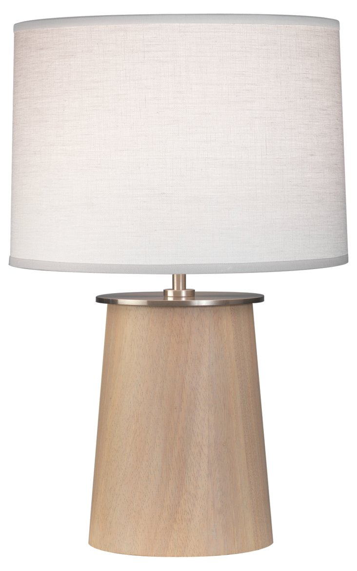 Adaire Squatty Table Lamp, Natural Wood