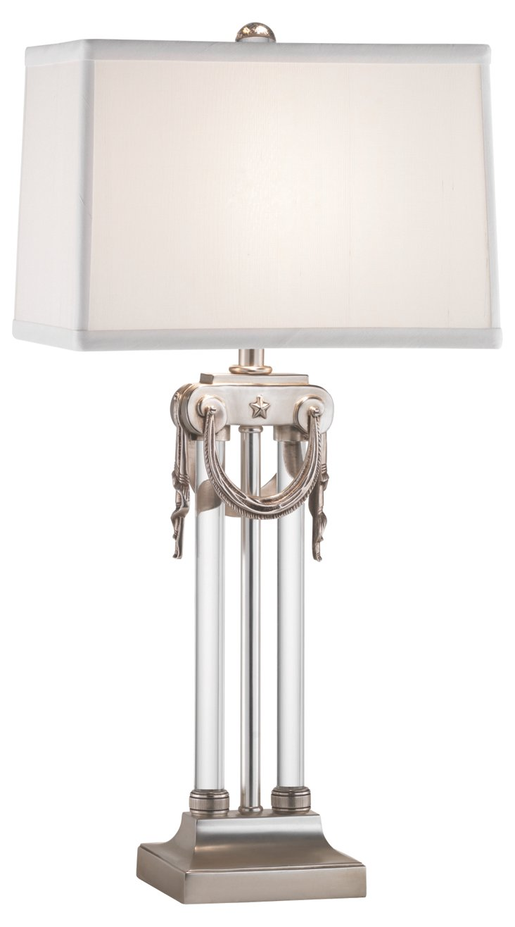 Josephine Table Lamp, Silver/Crystal