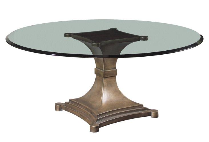 "60"" Edith Pedestal Dining Table, Bronze"