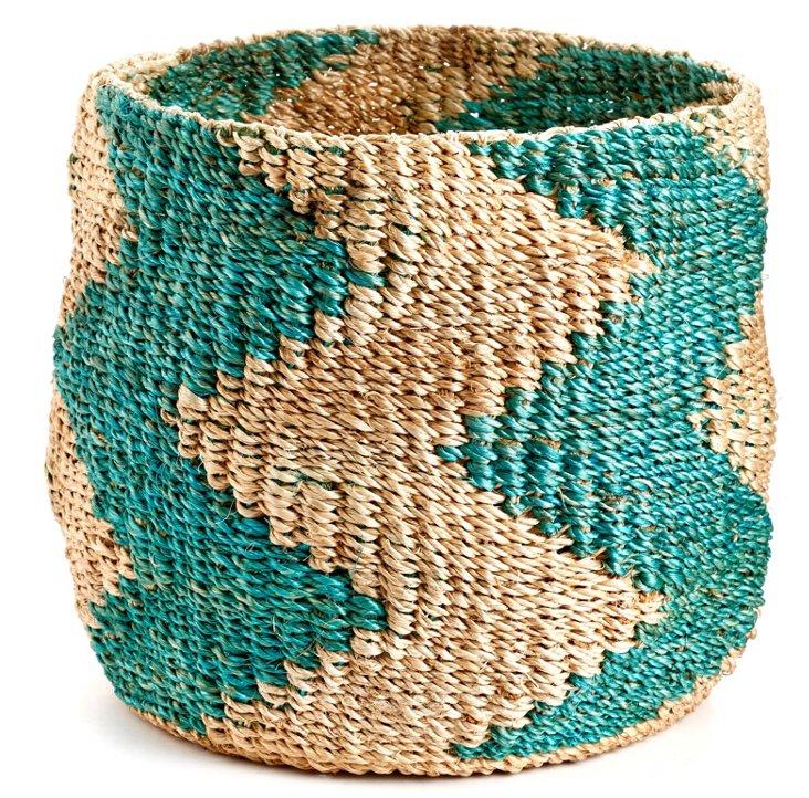 Zigzag Barrel Basket, Turquoise