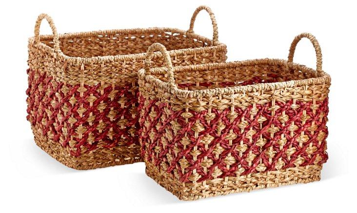 S/2 Assorted Crisscross Baskets, Coral