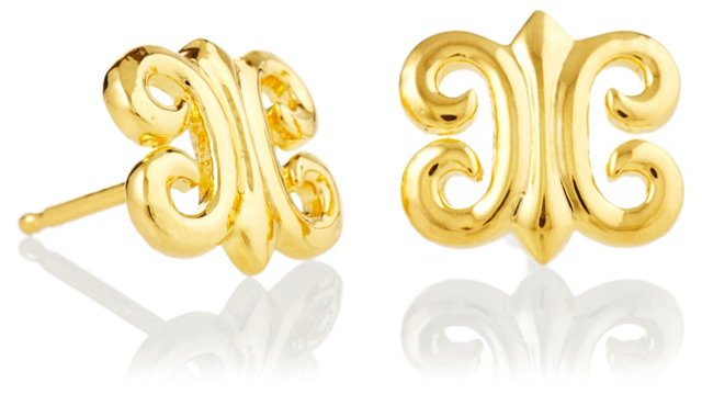 Gold-Plated Arabesque Studs