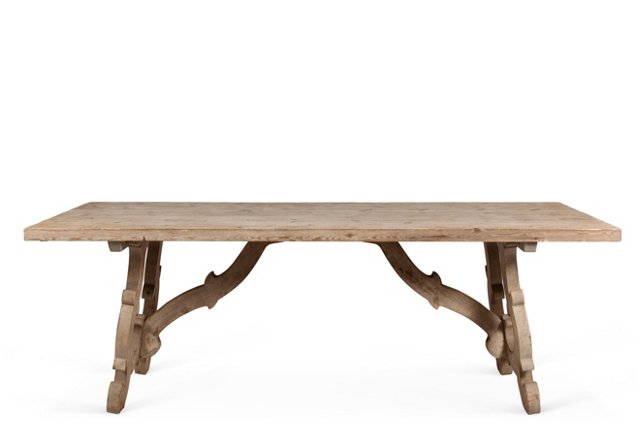 "River 87"" Trestle Dining Table, Pine"
