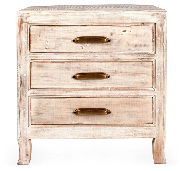 Chole 3-Drawer Nightstand, Cream