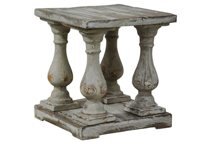 Walden End Table, Antiqued White