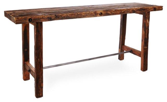 "Davis 78.5"" Pub Table, Driftwood/Bronze"