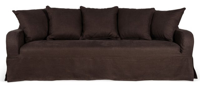 "Wilshire 90"" Sofa, Dark Chocolate"