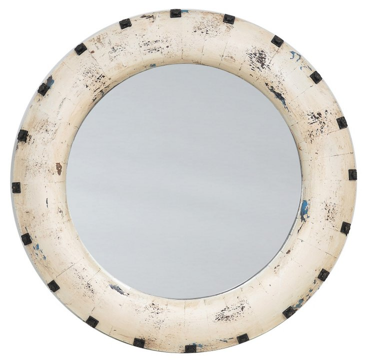 Santiago Pine Wood Wall Mirror, White