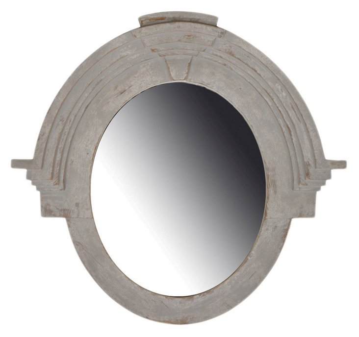 Valmont Pine Oversize Mirror, Pearl