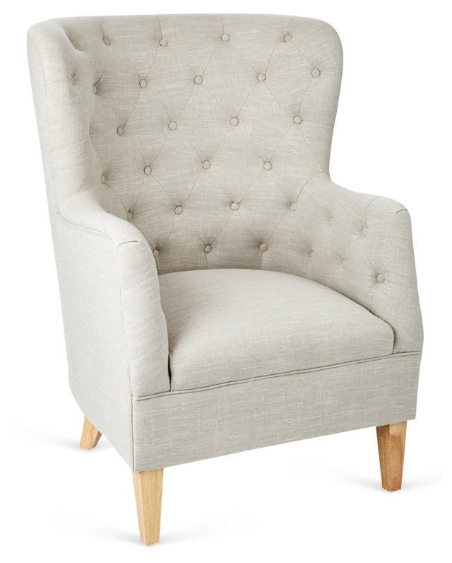 Layla Wingback Chair, French Gray