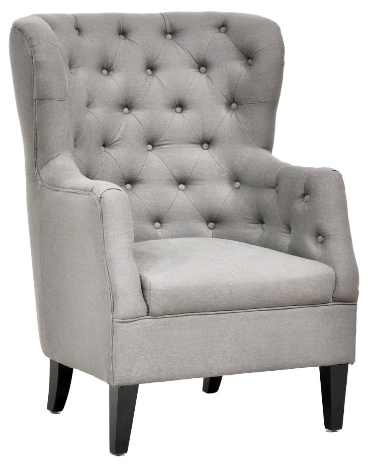 Cafer Wingback Chair, Gray