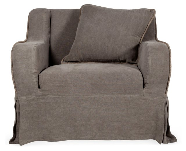 Ava Sofa Club Chair, Pebble