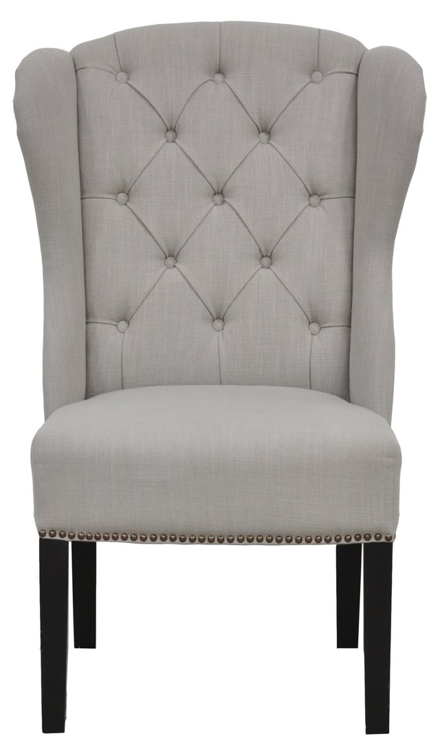 Hayley Wingback Tufted Chair, Stone Gray