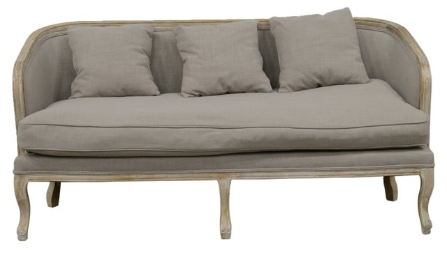 Maria Curved Settee, Gray