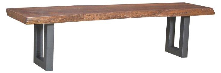 "Alix 68"" Industrial Bench, Light Sepia"