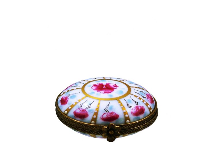 "2"" Pink Flowers Pill Limoges Box"