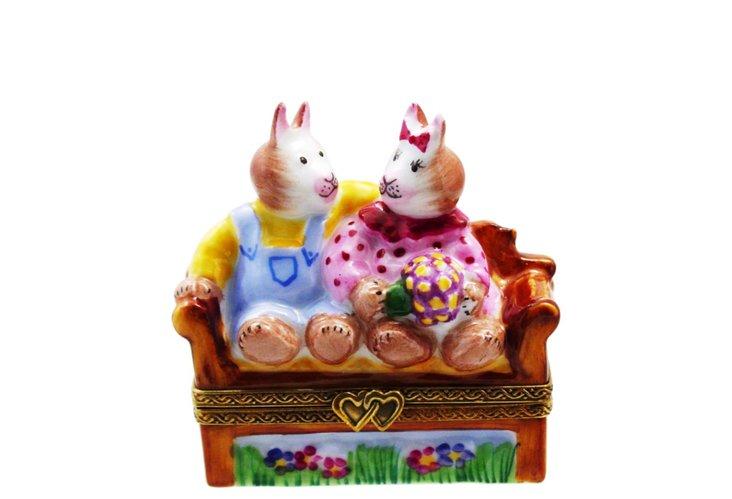 Chamart Rabbits on Bench Box