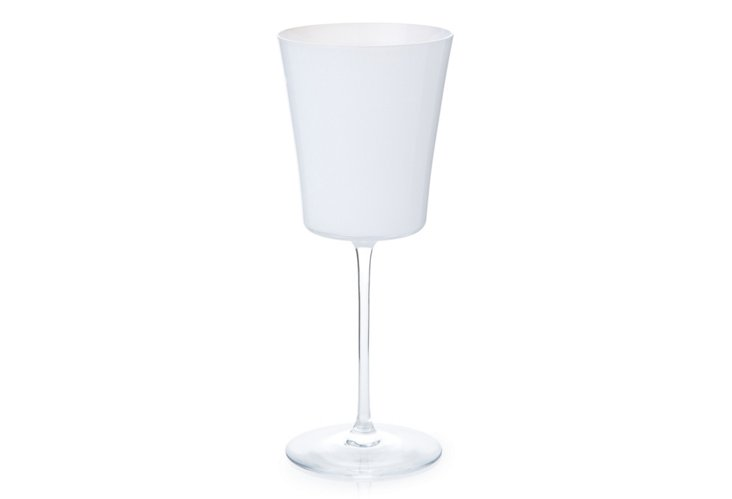 S/4 Crystal Red-Wine Glasses, White