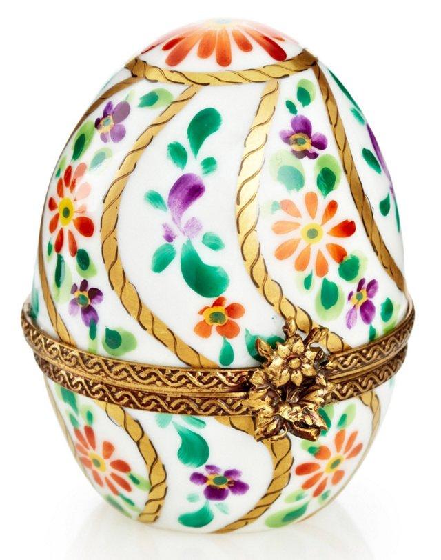 Floral Egg-Shape Box