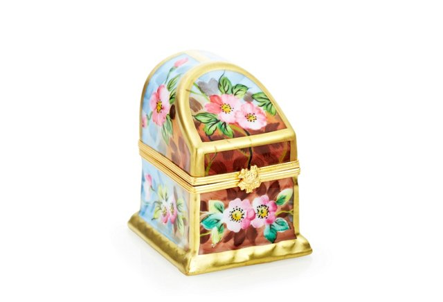 Floral Trunk Box With Glass Bottles