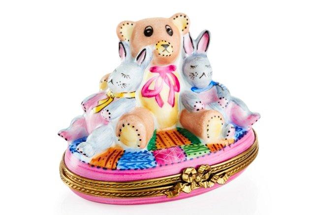 "3"" Bear & Bunnies Limoges Box"