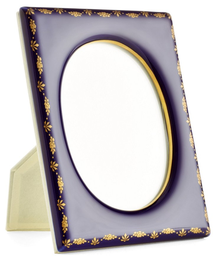 Mistletoe Frame, 4x6, Cobalt/Gold