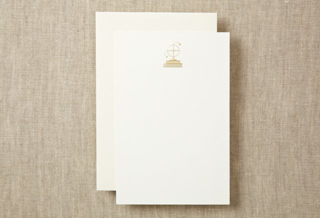 S/10 Globe Note Cards, Gold