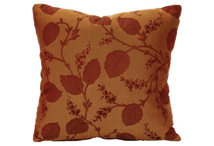 Rich Rust on Rust Floral Damask Pillow