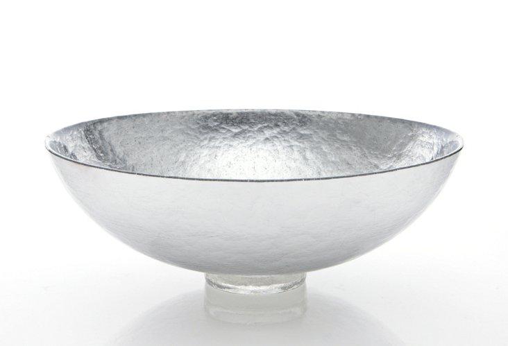 "15"" Bubble Glass Bowl, Silver Leaf"