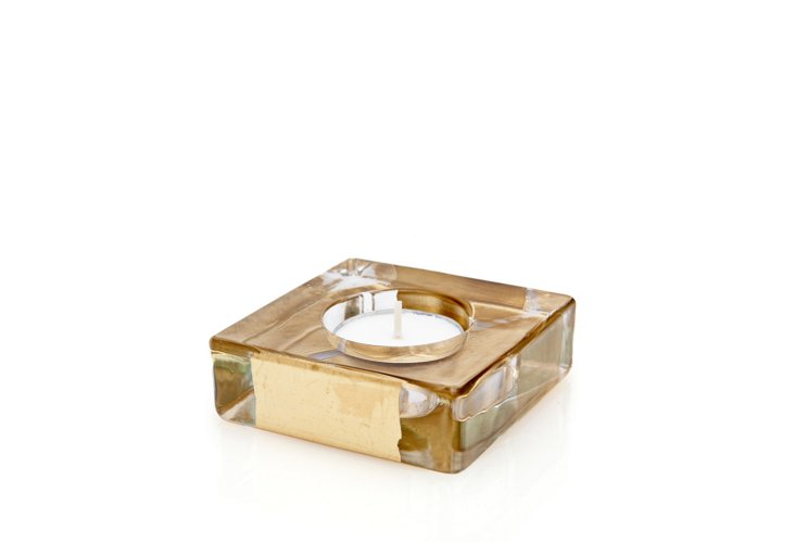 S/3 Block Tea-Light Holders, Gold