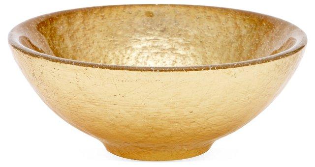 "6"" Bubble Glass Bowl, Gold Leaf"