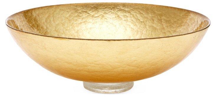 "15"" Bubble Glass Bowl, Gold Leaf"