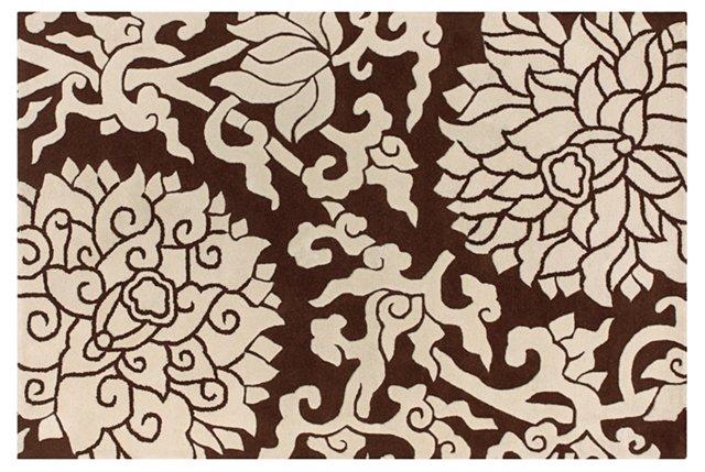 Blossom Rug, Chocolate/Cream
