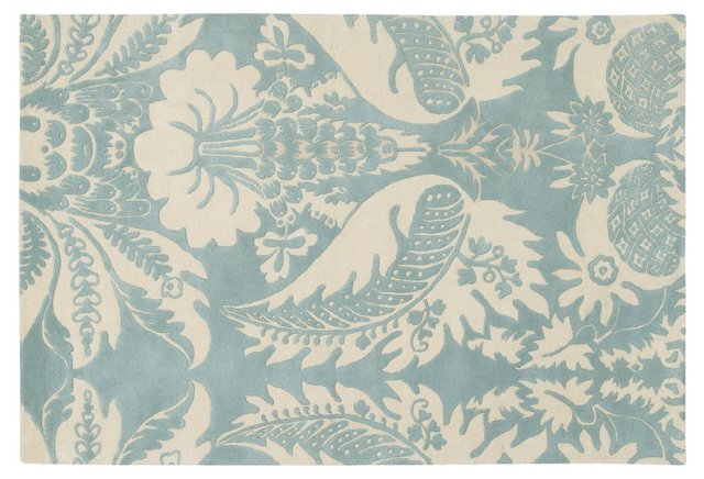 Damask Rug, Powder Blue/Cream