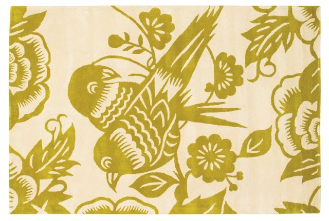 Love Birds Rug, Green/Cream