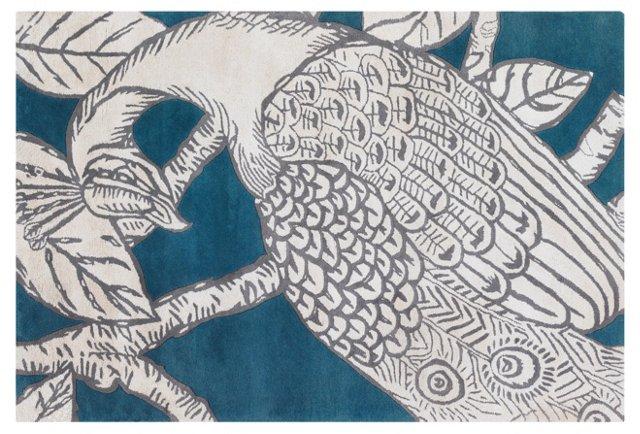 Peacock Rug, Teal/Ivory
