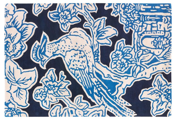 """5'x7'6"""" Toile Rug, Ink/French Blue"""