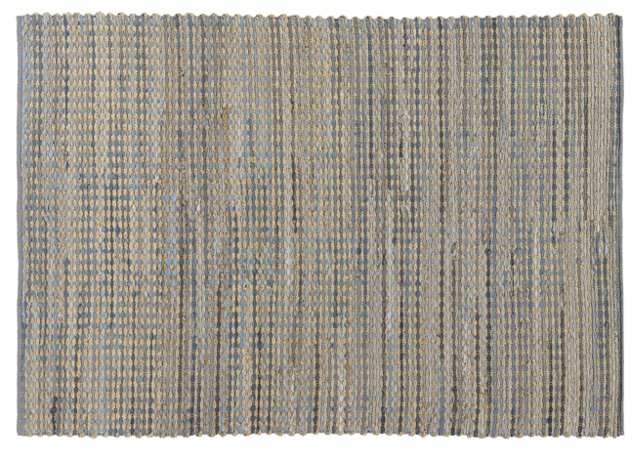 "7'9""x10'6"" Easton Jute Rug, Blue/Taupe"