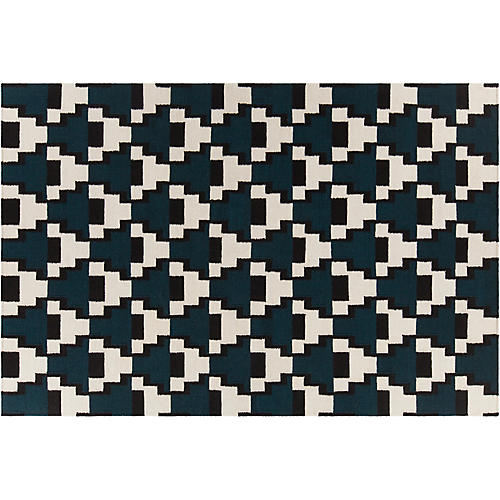Cello Flat-Weave Rug, Black