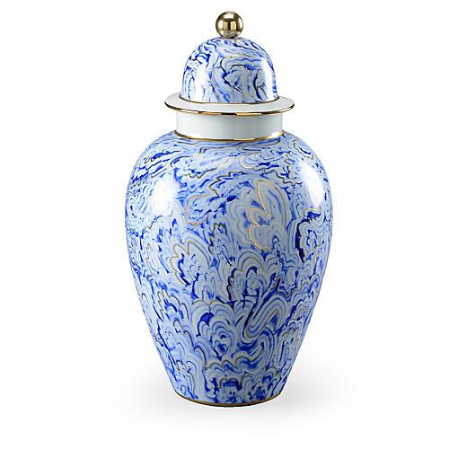 """19"""" Marbleized Ginger Jar, Blue/Gold"""