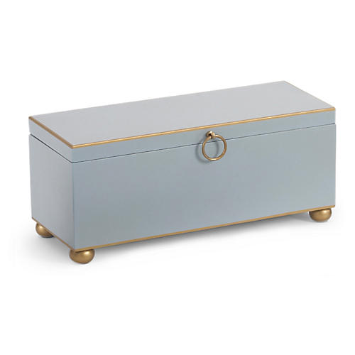 "14"" Rect Decorative Box, Blue/Gold"