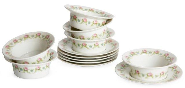 Limoges Custard Cups w/Saucers, 12 Pcs.