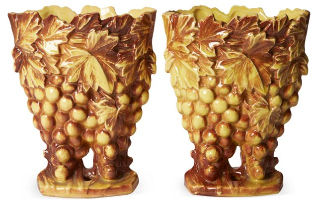 Grape Vases, Pair