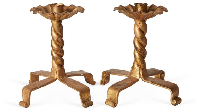 Gold Iron Candlesticks, Pair