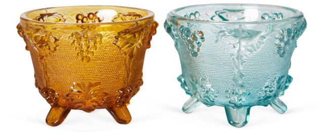 Glass Candy Dishes, Set of 2